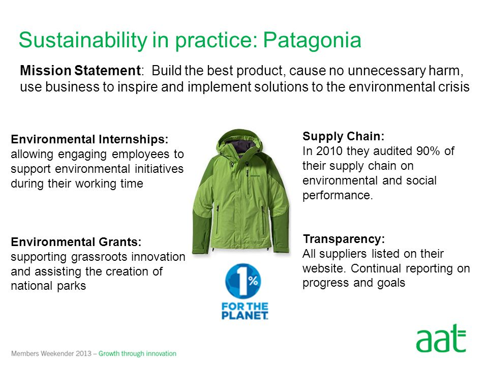 Patagonia – Common Threads Initiative Buy Less, Buy Used Fix and reuse existing products Innovative business model Linking customer and company responsibility