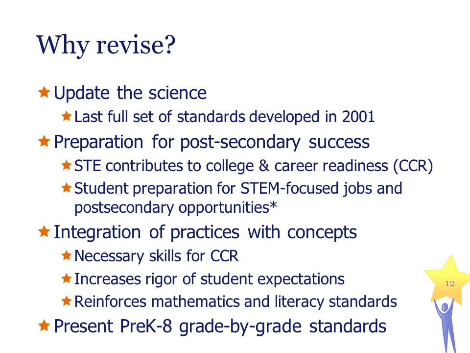 Students who are college and career ready in Science and Technology/Engineering will demonstrate the academic knowledge, skills, and practices necessary to enter into and succeed in entry-level, credit-bearing science, engineering or technical courses; certificate or workplace training programs requiring an equivalent level of science; or a comparable entry-level science or technical course at the institution.