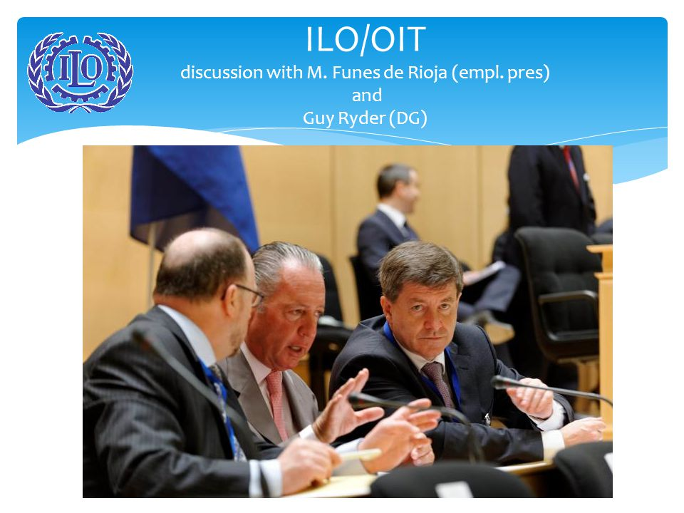 ILO SUPERVISORY SYSTEM  Commission of experts comments every year the application of standards in every country;  Every year the Tripartite Committee of Application of Standards of the International Labour Conference discusses 25 difficult cases;  3 times a year the Commission of Freedom of Association discusses cases;  The Governing Body discusses the most difficult situations and complaints.