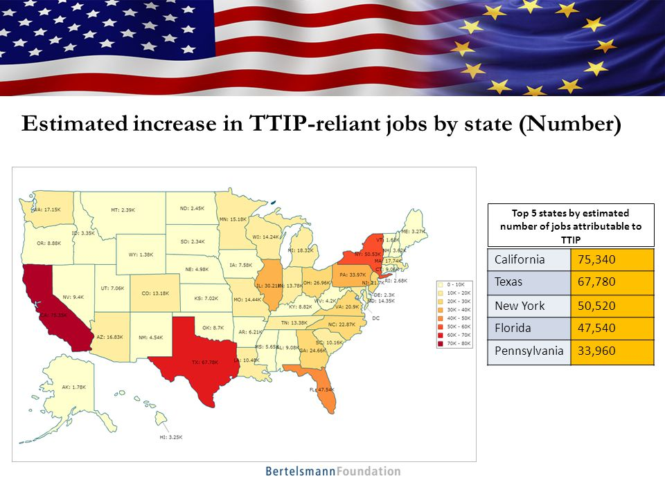 Estimated proportion of TTIP-reliant jobs in the state labor force (%) Top States with TTIP attributable jobs as a proportion of overall state job market (%) Nevada0.71 Hawaii0.68 Florida0.67 Washington0.67 West Virginia0.67 Montana0.67 Maine0.67