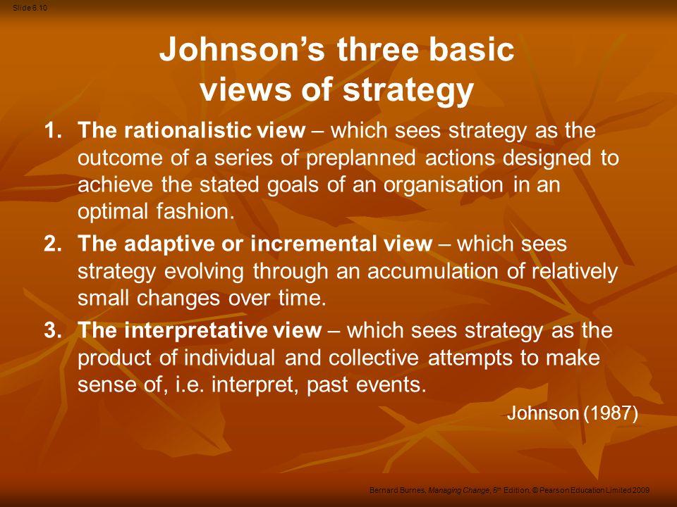 Slide 6.11 Bernard Burnes, Managing Change, 5 th Edition, © Pearson Education Limited 2009 Making sense of strategy Prescriptive: Prescriptive: Ansoff Ansoff Chandler Chandler Porter.