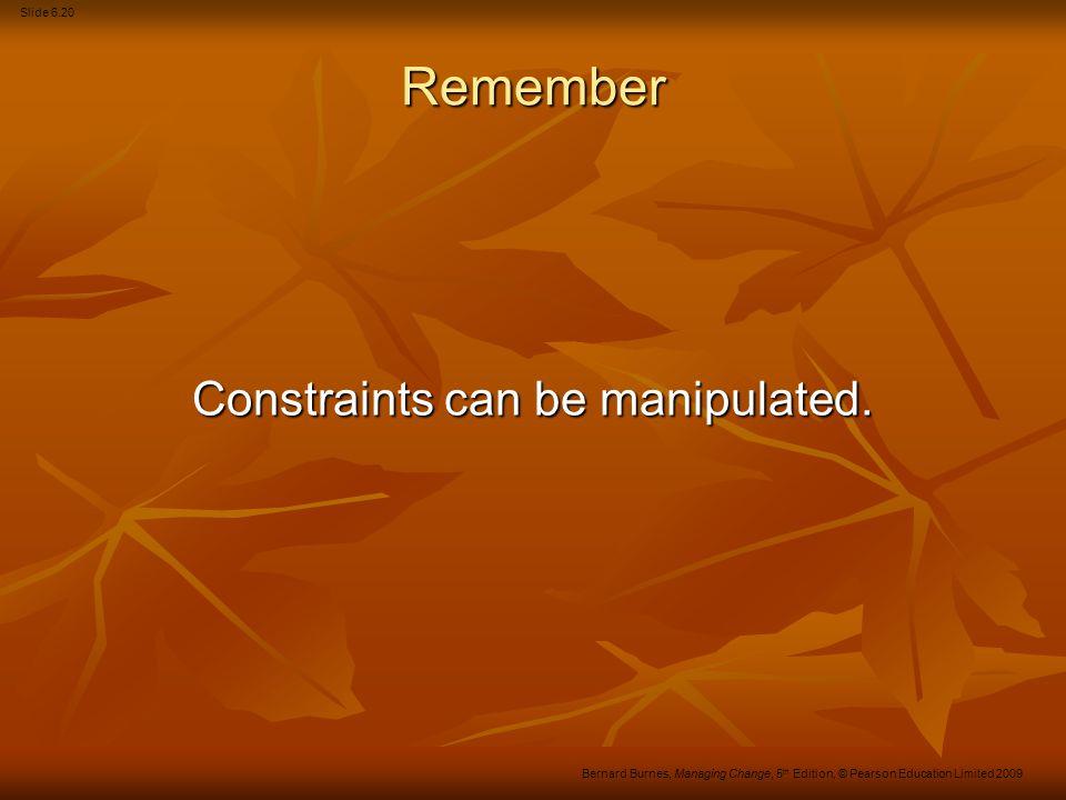 Slide 6.21 Bernard Burnes, Managing Change, 5 th Edition, © Pearson Education Limited 2009 Chapter 7
