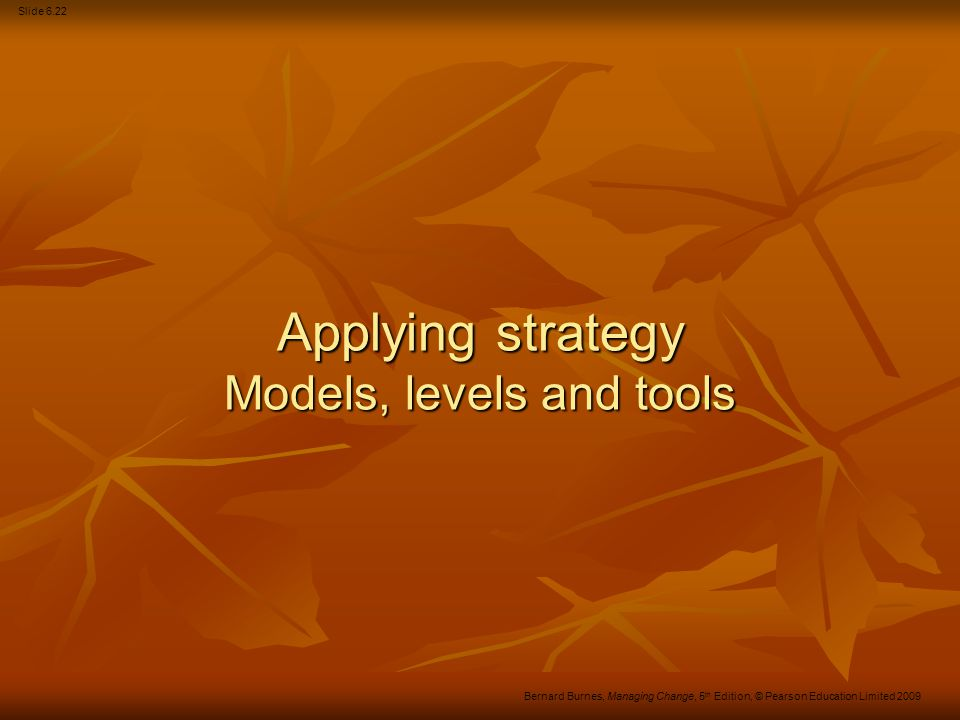 Slide 6.23 Bernard Burnes, Managing Change, 5 th Edition, © Pearson Education Limited 2009 Strategy in practice The Competitive Forces model The Competitive Forces model Cost leadership Cost leadership Product differentiation Product differentiation Specialisation by focus.