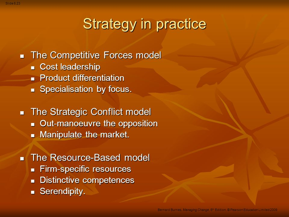 Slide 6.24 Bernard Burnes, Managing Change, 5 th Edition, © Pearson Education Limited 2009 Points to note All strategies have weaknesses as well as strengths.