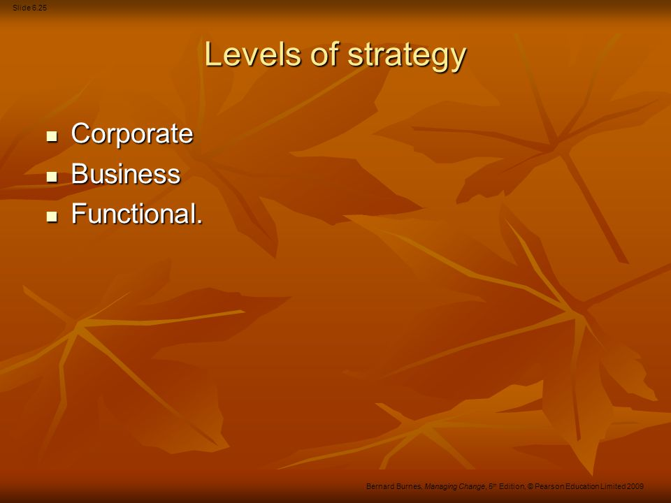 Slide 6.26 Bernard Burnes, Managing Change, 5 th Edition, © Pearson Education Limited 2009 Levels of strategic decision-making The corporate level.