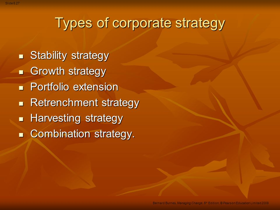 Slide 6.28 Bernard Burnes, Managing Change, 5 th Edition, © Pearson Education Limited 2009 Business-level strategy...