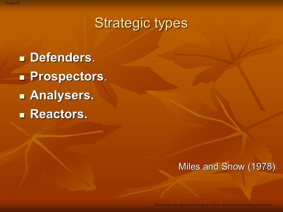 Slide 6.31 Bernard Burnes, Managing Change, 5 th Edition, © Pearson Education Limited 2009 Strategic types Defenders.