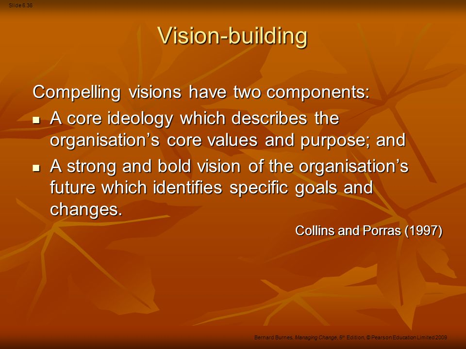 Slide 6.37 Bernard Burnes, Managing Change, 5 th Edition, © Pearson Education Limited 2009 The major elements of vision-building The conception by a company's senior management team of an 'ideal' future state for their organisation.