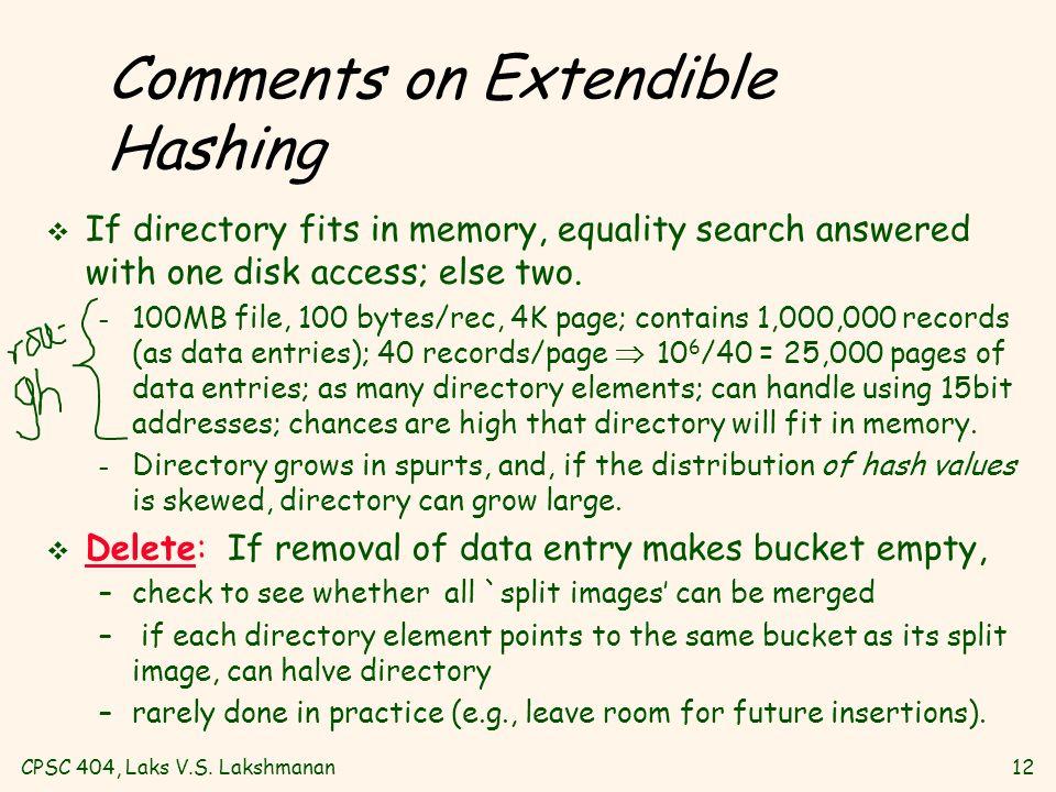 CPSC 404, Laks V.S.Lakshmanan13 Linear Hashing v An extension to Extendible Hashing, in spirit.