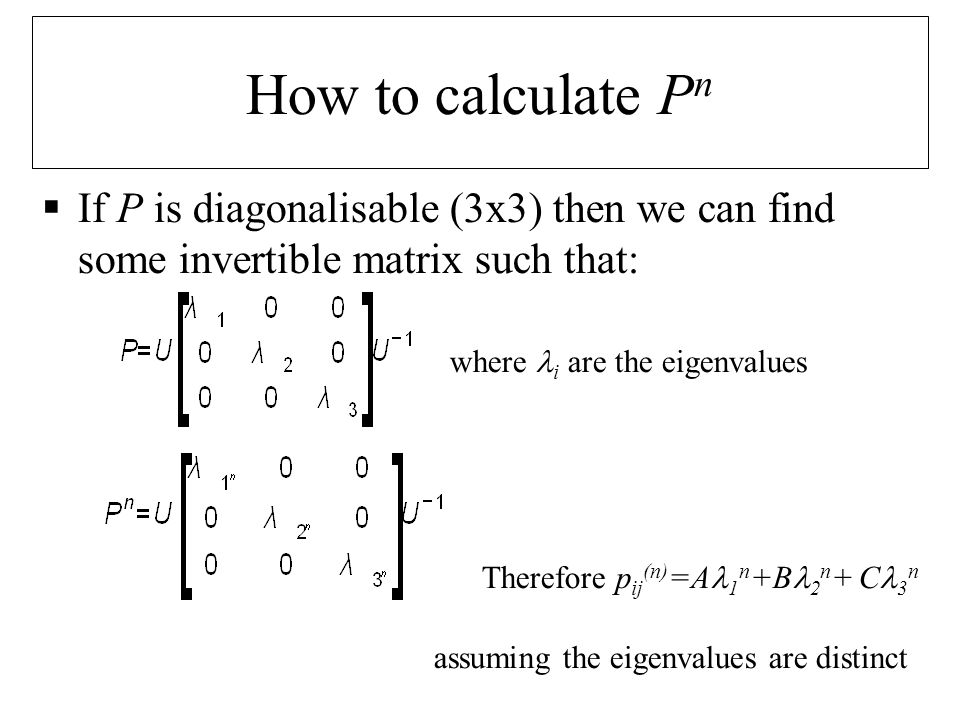 1.For an M state chain.Compute the eigenvalues 1, 2,..