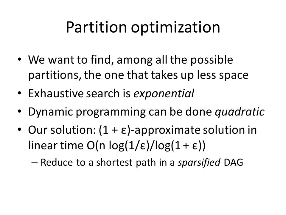 Partition optimization Nodes correspond to sequence elements Edges to potential chunks Paths = Sequence partitions
