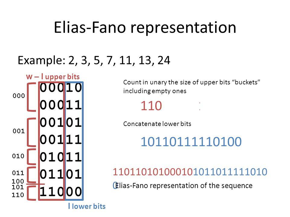 Elias-Fano representation Example: 2, 3, 5, 7, 11, 13, 24 00010 00011 00101 00111 01011 01101 11000 l lower bits w – l upper bits 1101101010001010110111110100 Elias-Fano representation of the sequence Maximum bucket: [U / 2 l ] Example: [24 / 2 2 ] = 6 = 110 Space [U / 2 l ] + n + n l bits n: sequence length U: largest sequence value Upper bits: one 0 per bucket and one 1 per value