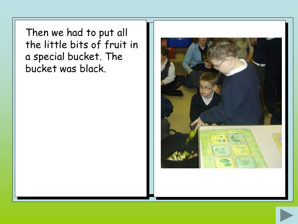 Then we had to put all the little bits of fruit in a special bucket. The bucket was black.