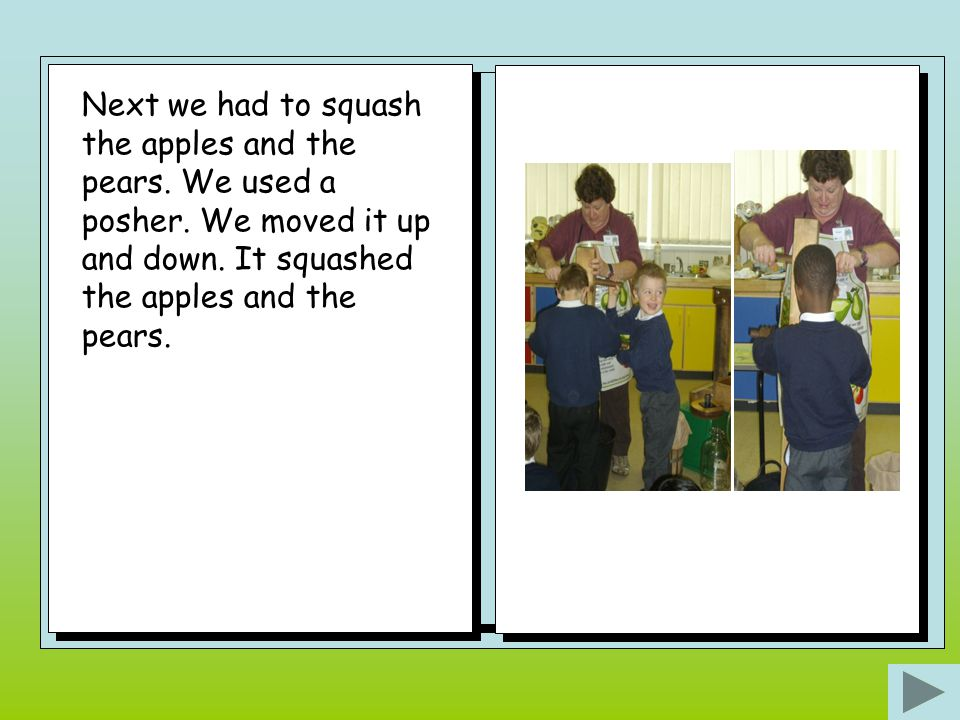 Next we had to squash the apples and the pears.We used a posher.