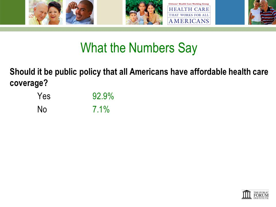 What the Numbers Say Which one of the following do you think is the MOST important reason to have health insurance.