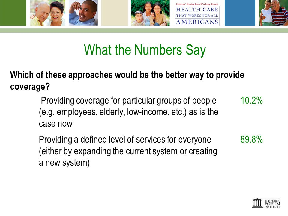 What the Numbers Say Should everyone be required to enroll in basic health coverage – either public or private.