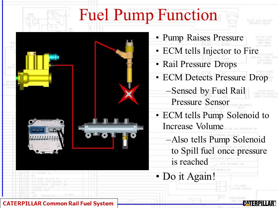 CATERPILLAR Common Rail Fuel System Fuel in from Secondary Filter To Fuel HP Manifold Pump Speed Position Sensor From Primary Filter Fuel Leak off to Tank To Secondary Filter Oil lubrication Locks the Pump