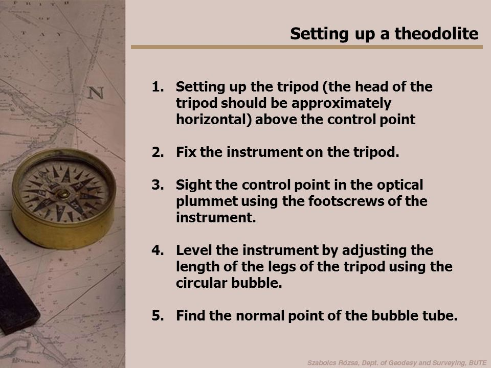 6.Level the instrument accurately using the bubble tube and the three levelling screws.