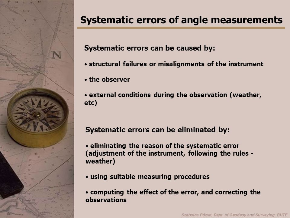 Systematic errors of angle measurements Let's suppose that the systematic errors are independent -> can be treated separately.