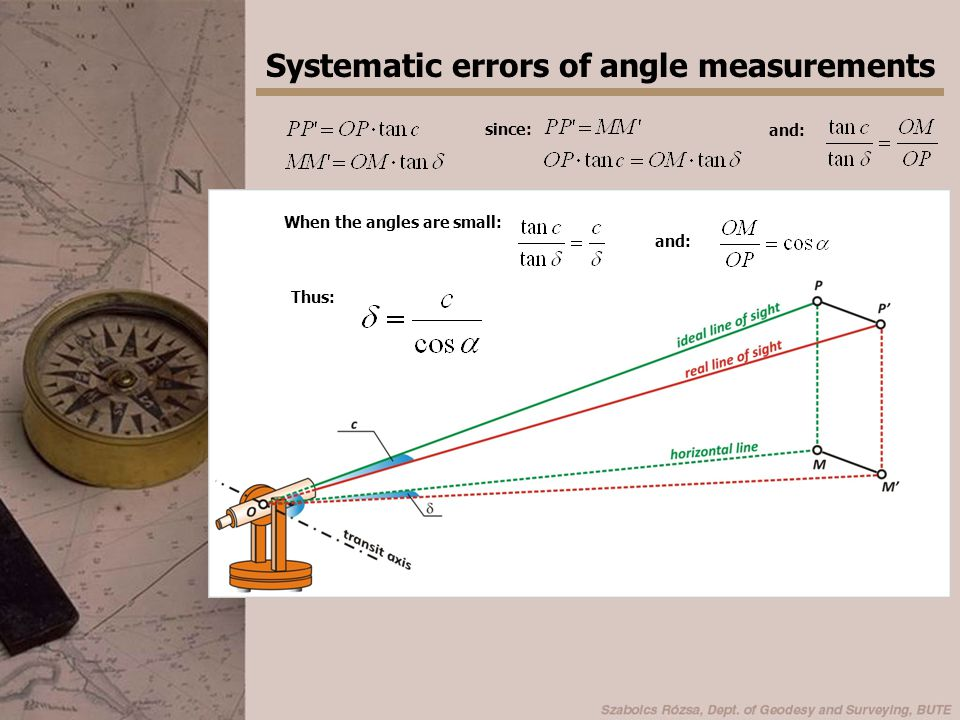 Systematic errors of angle measurements Readings in two faces!