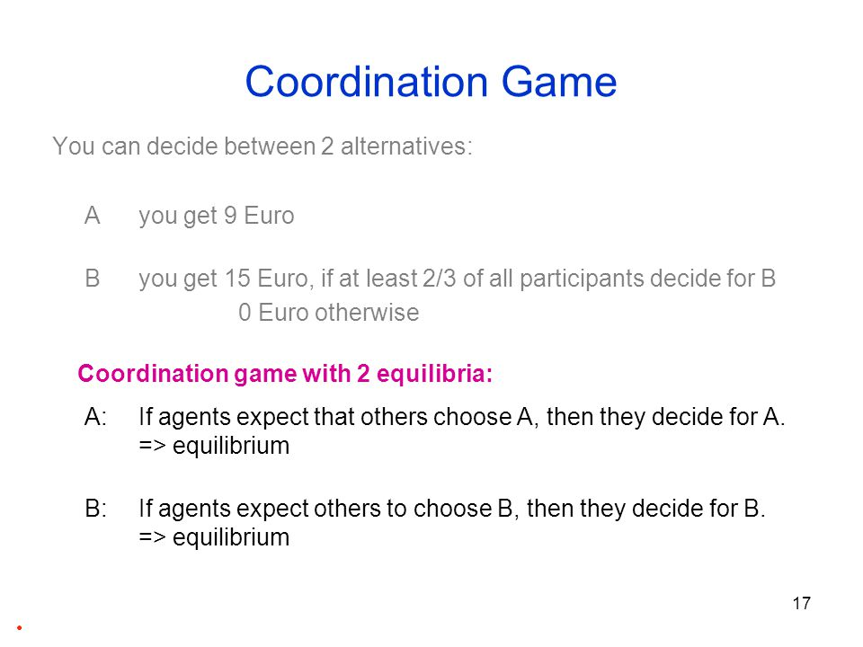 18 Coordination Game You can decide between 2 alternatives: A you get 9 Euro B you get 15 Euro, if at least 2/3 of all participants decide for B 0 Euro otherwise Optimal decision depends on expectations about decisions of others.