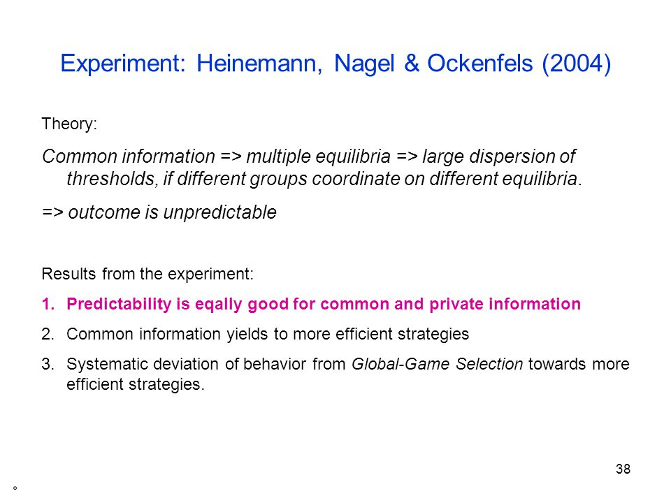39 Welfare effects of public information Game with strategic complementarities and unique equilibrium Theory: agents should put a larger weight on public than on private signals of same precision.