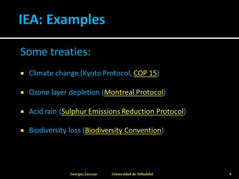 Typical features of many environmental problems: Public good, Externalities, Free riding ExcludableNon-excludable Rivalrous Pure private goodOpen-access resource (common good) Ocean fishery Non-rivalrous Club good Wilderness Area Public good Air, Pollution abatement 5Georges Zaccour Universidad de Valladolid