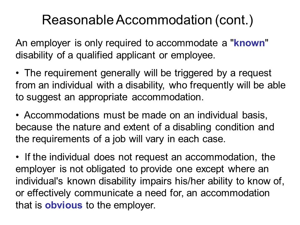 Reasonable accommodation is any modification or adjustment to a job or the work environment that will enable a qualified applicant or employee with a disability to participate in the application process or to perform essential job functions.