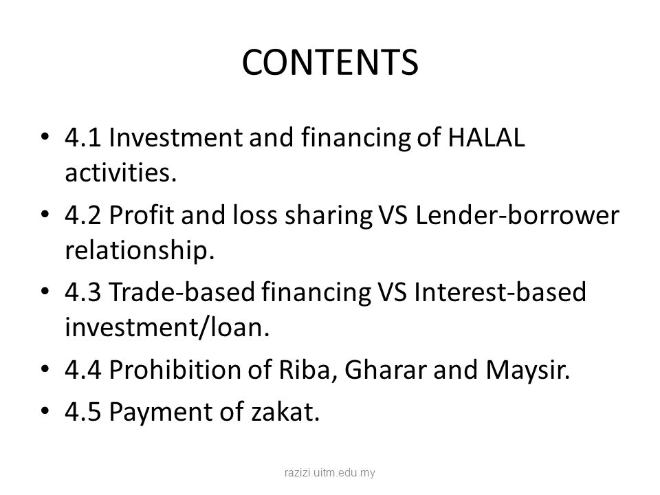 4.1 Investment and financing of HALAL activities.Financial serviced based on Riba.