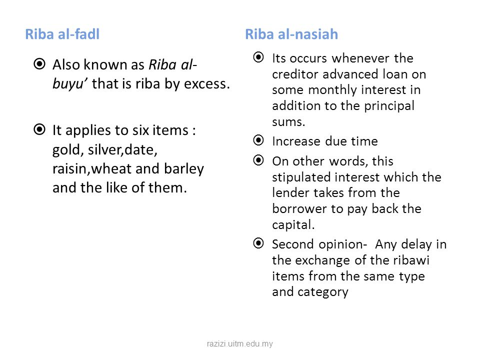 Riba al-Qard  It is riba in debt or out of lending and borrowing.