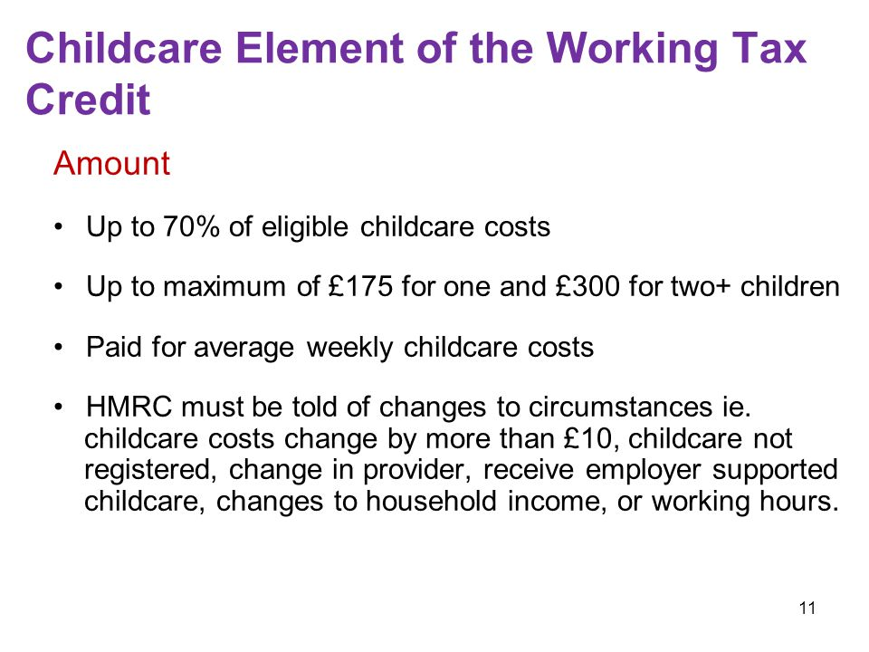 11 Childcare Element of the Working Tax Credit Amount Up to 70% of eligible childcare costs Up to maximum of £175 for one and £300 for two+ children Paid for average weekly childcare costs HMRC must be told of changes to circumstances ie.