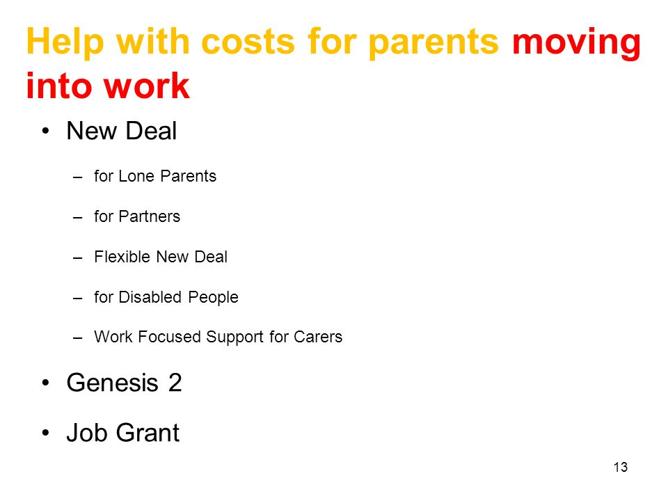 13 Help with costs for parents moving into work New Deal –for Lone Parents –for Partners –Flexible New Deal –for Disabled People –Work Focused Support for Carers Genesis 2 Job Grant