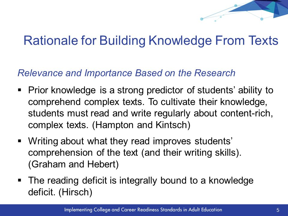 Implications of Building Knowledge on Instruction  Provide coherent selections of content-rich, strategically sequenced texts so students can build knowledge about a topic.