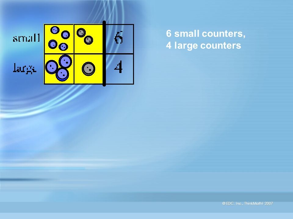 © EDC. Inc., ThinkMath! 2007 7 blue counters, 3 gray counters
