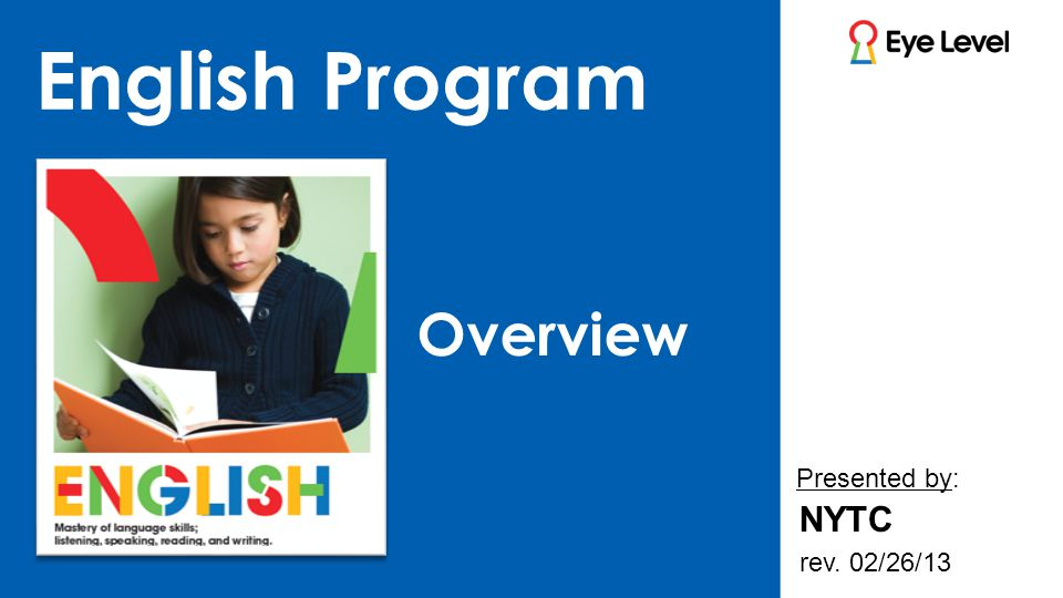 Topics Developing Pre-reading Skills Development & Concept of the English Program English Curriculum Overview Structure of Booklets