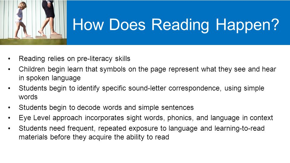Developing Pre-reading Skills Oral Language Competency Background Knowledge Phonemic Awareness Print Awareness Alphabet Knowledge Letter/sound correspondence