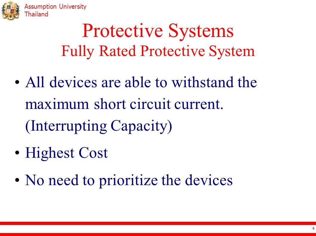Assumption University Thailand Protective Systems Fully Rated Protective System 5 Electrical Systems Design: ประสิทธิ์ พิทยพัฒน์