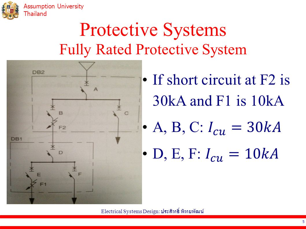 Assumption University Thailand Protective Systems Selective Protective System All devices are able to withstand the maximum short circuit current.