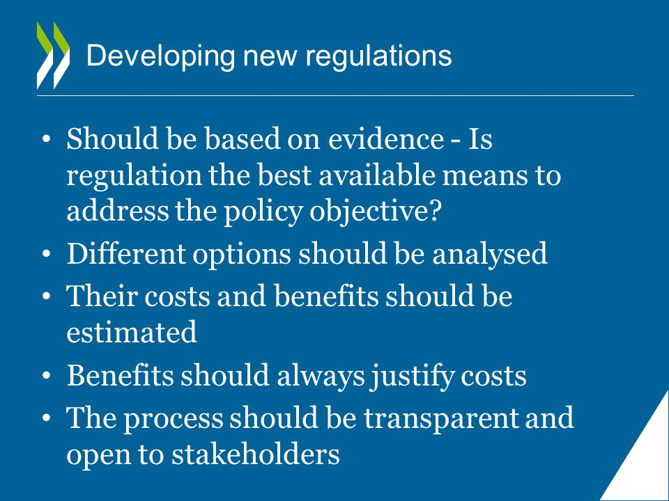 Regulatory Impact Assessment RIA is a systematic policy tool used to examine and measure the likely benefits, costs and effects of new or existing regulation A tool to control the quality of regulation A tool to ensure accountability: ruling for those who do the rules….