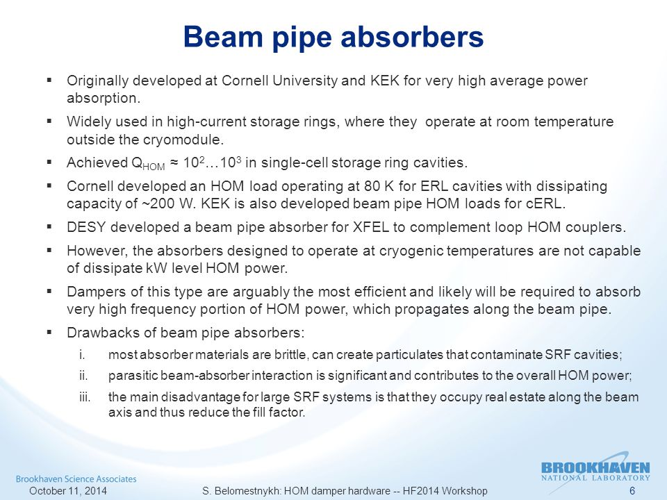 KEKB HOM beam pipe absorbers October 11, 2014 S.