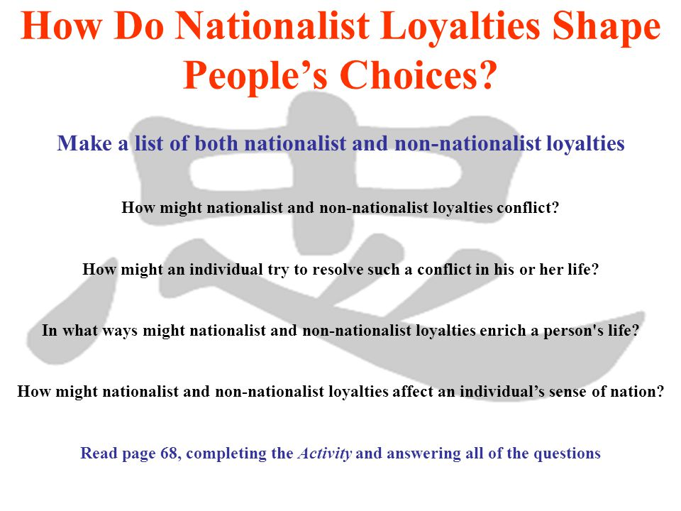 Review the caption on page 69 Respond to the question Loyalty Read page 69 What is the link between patriotism and loyalty.