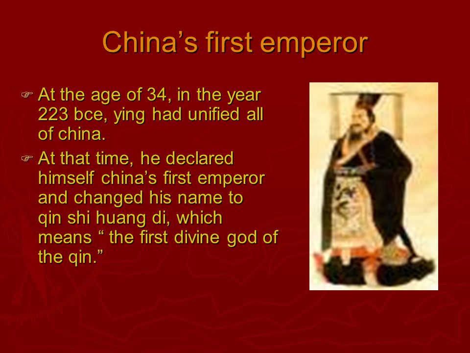 LEGALISM  As Qin Shi huang di was taking over the other chinese states he implemented a political philosophy of legalism.