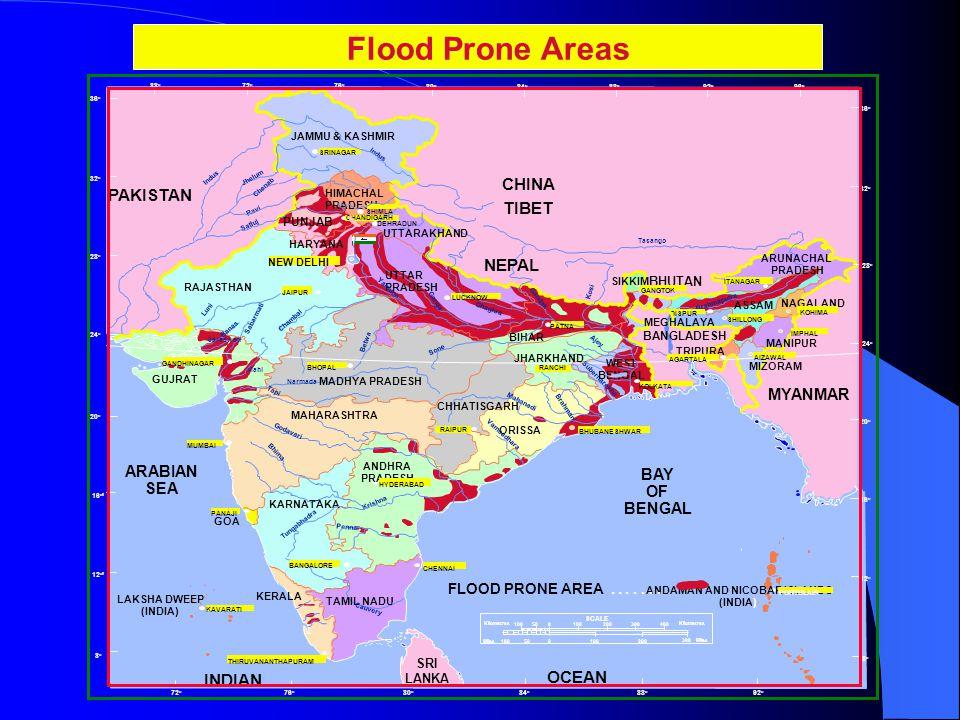 DAMAGES DUE TO FLOODS (1953-2005) AV.ANN. FLOOD DAMAGE US$ 451 M MAX.