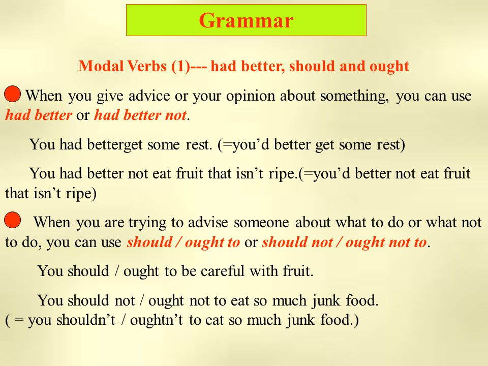 Grammar Modal Verbs (1)--- had better, should and ought When you give advice or your opinion about something, you can use had better or had better not.