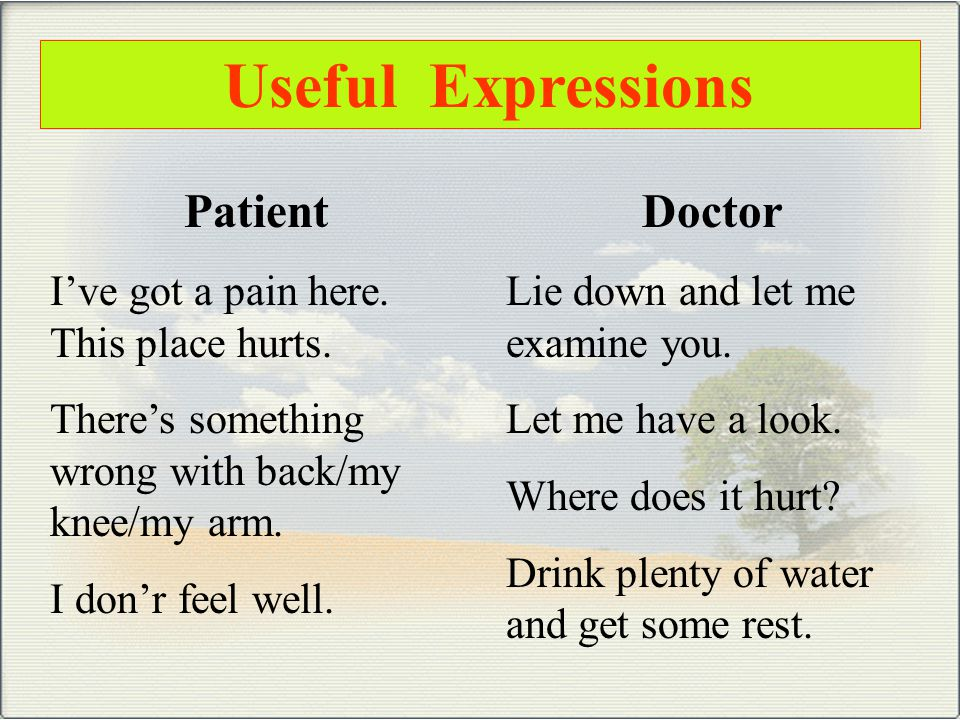 Useful Expressions Patient I've got a pain here.This place hurts.