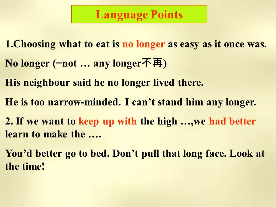 Language Points 1.Choosing what to eat is no longer as easy as it once was.