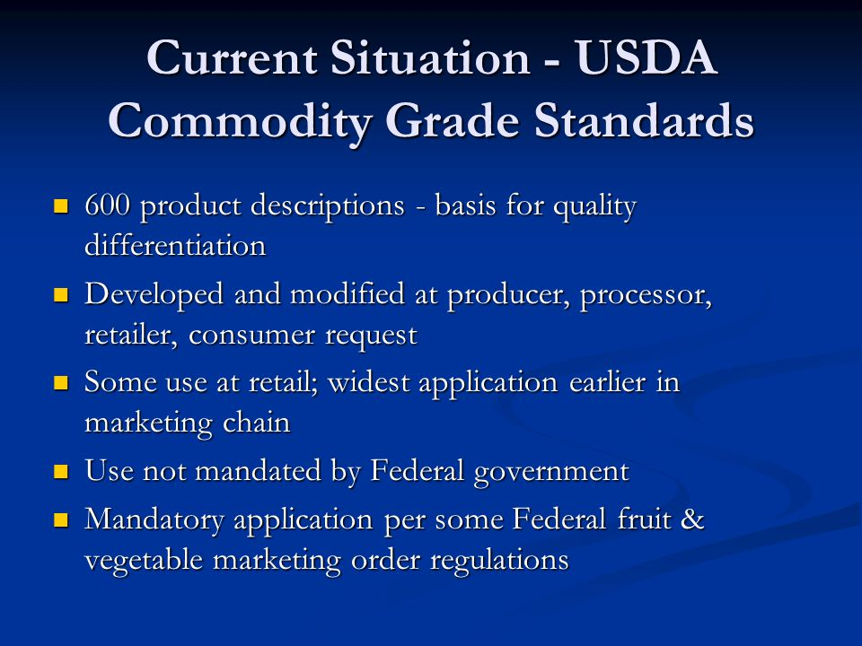 AMS Maintains Standards for 600 Commodities