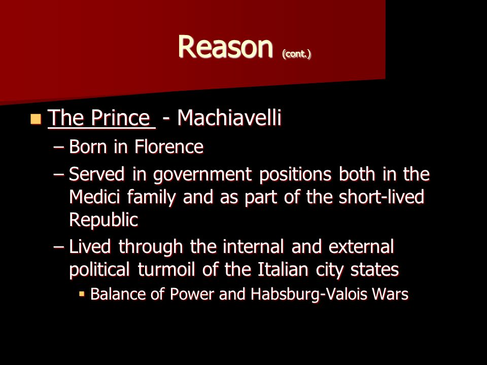 Reason (cont.) Side note of interest… Torture under the Medici Revival