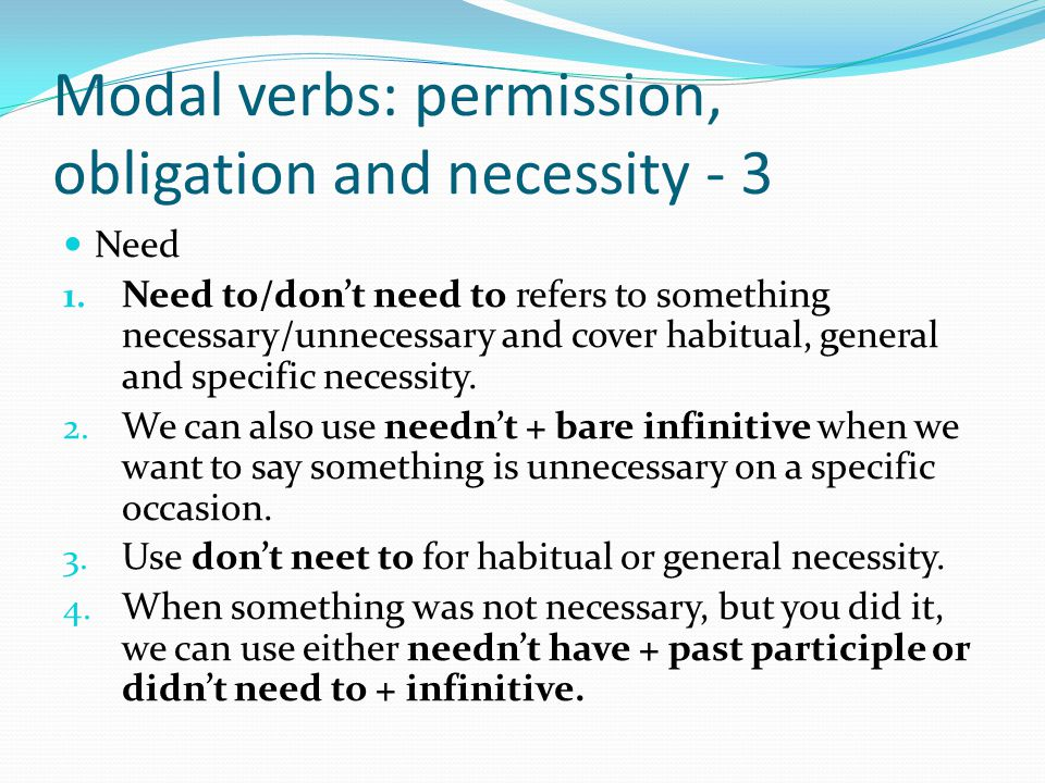 Modal verbs: permission, obligation and necessity - 4 Be able to, be allowed to, be permitted to, be supposed to 1.