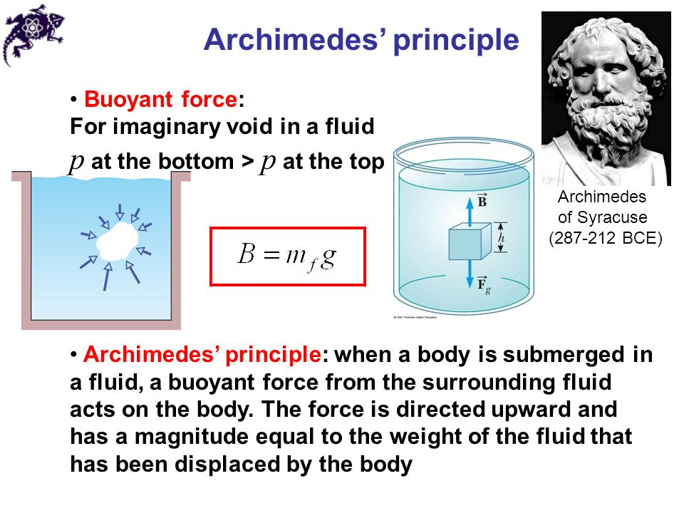 Archimedes' principle Sinking: Floating: Apparent weight: If the object is floating at the surface of a fluid, the magnitude of the buoyant force (equal to the weight of the fluid displaced by the body) is equal to the magnitude of the gravitational force on the body